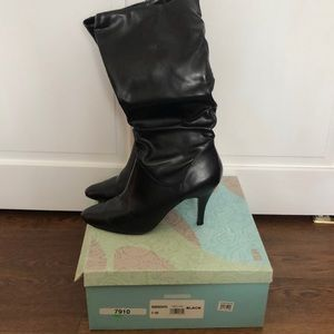 Heeled faux leather boots